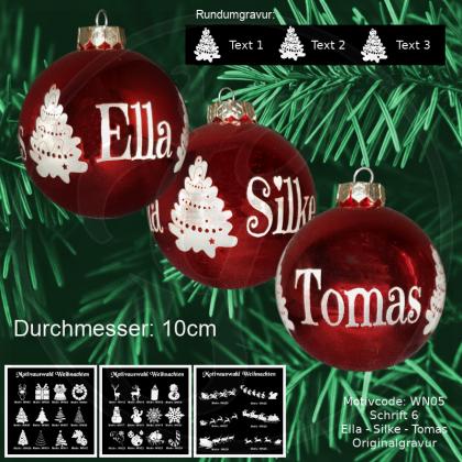 Weihnachtskugel XXL - 10cm - Rot glänzend - mit Motivauswahl und individueller Gravur / Text