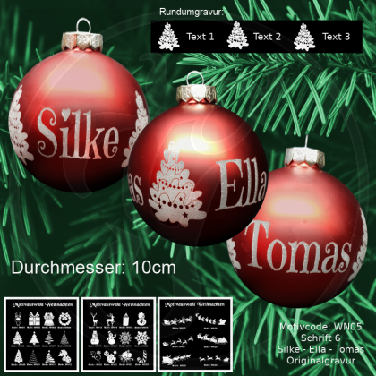 Weihnachtskugel XXL - 10cm - Rot matt - mit Motivauswahl und individueller Gravur / Text