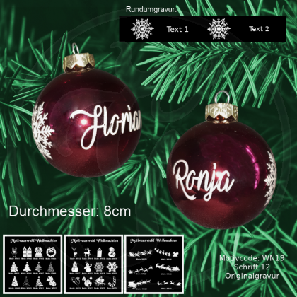 Weihnachtskugel XL - 8cm - Rot glänzend - mit Motivauswahl und individueller Gravur / Text
