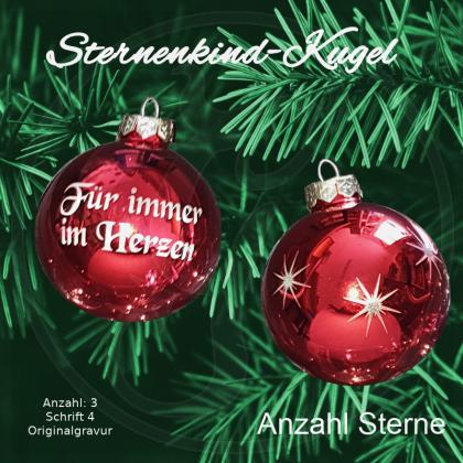 Weihnachtskugel XL *Sternenkind* - 8cm - rot glänzend - mit Motivauswahl und individueller Gravur / Text