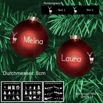 Weihnachtskugel XL - 8cm - Rot matt - mit Motivauswahl und individueller Gravur / Text