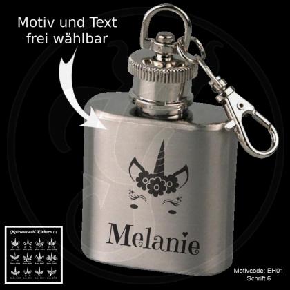 Mini-Flachmann Schlüsselanhänger - Einhorn - mit Motivauswahl und individueller Gravur