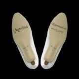 Gravur auf Schuhsohlen von Kommunionsschuhen - Kommunion, Name und Datum