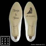 Schuhsohlen-Gravur - Hochzeitspaar - mit Motivauswahl und individueller Gravur / Namen und Datum