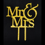 Caketopper - Mr & Mrs - Schriftzug Gold glitzernd