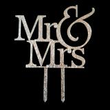 Caketopper - Mr & Mrs - Schriftzug Silber glitzernd