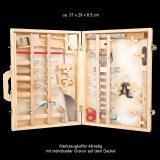 Werkzeugkoffer Deluxe für Kinder aus Holz - 48-teilig und individueller Gravur / Wunschtext oder Name