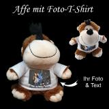 Plüschtier Affe mit Ihrem Foto auf dem T-Shirt