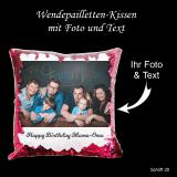 Wendepailletten-Kissen mit Ihrem Foto und Wunschtext - Farbe: pink-lila
