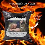 Wendepailletten-Kissen mit Ihrem Foto und Wunschtext - Farbe: schwarz