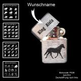 Benzin-Feuerzeug - Pferd - chrom gebürstet mit Motivauswahl, Wunschtext oder Name