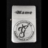 Benzin-Feuerzeug - Gravurhölle-Logo - chrom gebürstet mit Ihrem Namen
