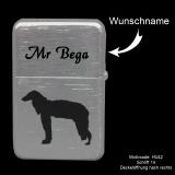 Benzin-Feuerzeug - Hund - chrom gebürstet mit Motivauswahl, Wunschtext oder Name