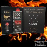 Zippo-Feuerzeug Schwarz matt - Fuchs - mit individueller Gravur