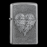 Zippo-Feuerzeug - Emblem Heart with Feathers - optional mit individueller Gravur