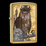 Zippo-Feuerzeug - Steampunkt Owl - Farbe: messing - optional mit individueller Gravur