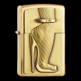 Zippo-Feuerzeug - Emblem Brushed-Brass High Heel - optional mit individueller Zippo-Schachtel-Gravur