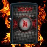 Zippo-Feuerzeug - Black Mat With Zippo Flame - Farbe: Schwarz - optional mit individueller Gravur