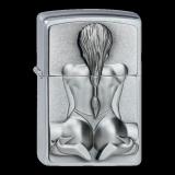 Zippo-Feuerzeug - Emblem Kneeling Girl - optional mit individueller Zippo-Schachtel-Gravur