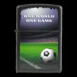Zippo-Feuerzeug - One World one Game - Optional mit individueller Gravur des Zippos und der Schachtel