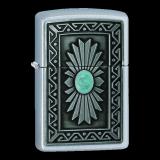 Zippo-Feuerzeug - Tribal Stil mit Stein - optional mit individueller Zippo-Schachtel-Gravur