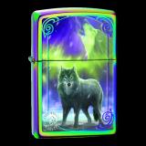 Zippo-Feuerzeug - Wolf - von Anne Stokes - Farbe: rainbow - optional auch mit individueller Gravur
