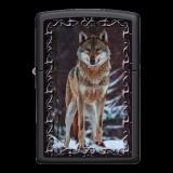 Zippo-Feuerzeug - Wolf - Farbe: schwarz - optional mit individueller Gravur