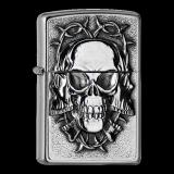 Zippo-Feuerzeug - Emblem Three Skulls - optional auch mit individueller Zippo-Schachtel-Gravur