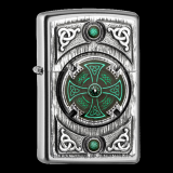 Zippo-Feuerzeug - Emblem Celtic Green Kross - optional mit individueller Gravur