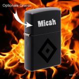 Zippo-Feuerzeug - HSV - Farbe: schwarz matt mit edlem Vereinssymbol - optional mit individueller Gravur