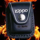 Zippo Tasche - schwarzes Leder mit Clip - optional mit Ihrem Namen