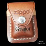 Zippo Tasche - braunes Leder mit Clip - optional mit Ihrem Namen