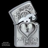 Zippo-Feuerzeug - Emblem Herzschloss - mit Deckel-Trick - optional mit individueller Gravur