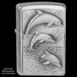 Zippo-Feuerzeug - Emblem Dolphins - optional mit individueller Gravur