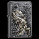 Trick-Zippo-Feuerzeug - Emblem Crocodile - mit Deckel-Trick - optional mit individueller Gravur