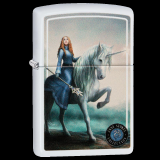 Zippo-Feuerzeug - Unicorn von Anne Stokes - Farbe: Weiß -  optional mit individueller Gravur