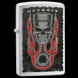 Zippo-Feuerzeug - Detroit Piston Skull Flame - Optional mit Schachtelgravur