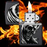 Zippo-Feuerzeug - Ghost Skull - Farbe: Schwarz - optional mit individueller Gravur