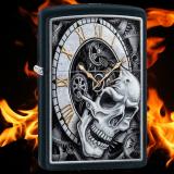 Zippo-Feuerzeug - Skull Clock - Farbe: Schwarz - optional mit individueller Gravur