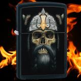Zippo-Feuerzeug - Skull Helmet - Farbe: Schwarz - optional mit individueller Gravur