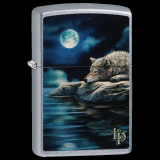Zippo-Feuerzeug - Wolf at the Water von Lisa-Parker - optional mit individueller Gravur