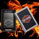 Zippo-Feuerzeug - Emblem Harley Davidson Logo - Hölle 10 - Farbe: Grau - optional mit individueller Gravur