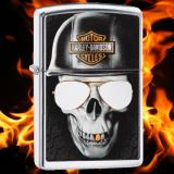 Zippo-Feuerzeug - Skull with Harley Davidson Helmet - optional mit individueller Gravur