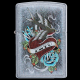 Zippo-Feuerzeug - Tattoo Swallow and Roses - optional mit individueller Gravur