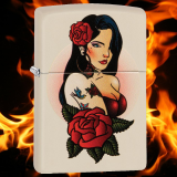 Zippo-Feuerzeug - Pin Up Tattoo Girl - Farbe: Creme - optional mit individueller Gravur
