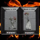 Zippo-Feuerzeug - zwei Stück für Paare - Skull Wedding Couple - Farbe: schwarz matt - optional mit individueller Gravur