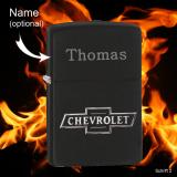 Zippo-Feuerzeug - Chevrolet - Farbe: schwarz - optional mit individueller Gravur