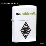 Zippo-Feuerzeug - Borussia Mönchengladbach - Die Fohlenelf. - Farbe: weiß matt - optional mit individueller Gravur