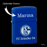 Zippo-Feuerzeug - FC Schalke 04 - Farbe: royal blau - optional mit individueller Gravur