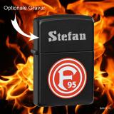 Zippo-Feuerzeug - Fortuna Düsseldorf - Farbe: schwarz - optional mit individueller Gravur
